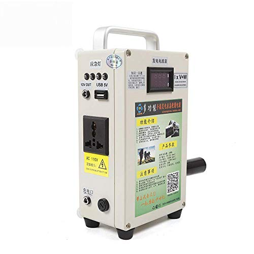 HYYKJ Manual Hand Crank Generator with Charger 5000mAH Power Lithium Battery Portable Emergency Power USB Charging Generator (US Plug 110V)