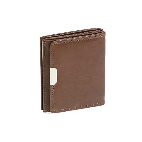 Echt-Leder blau Wiener-Schachtel Ausweis-Format große Kleingeldschütte LEAS