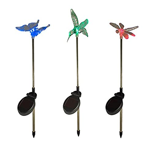 Color Changing LED Dragonfly, Butterfly & Hummingbird Solar Garden Landscape Lights