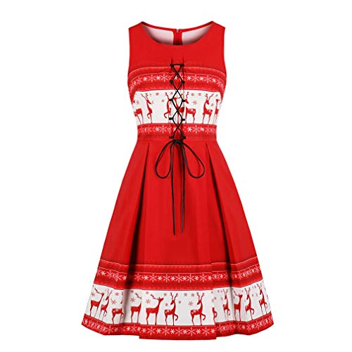 Lealac Women's Cotton Halloween Christmas 1950s Cut Out V-Neck Vintage Casual Party Cocktail Swing Dress L183-D1713 Red XXXL