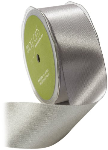 May Arts 1-1/2-Inch Wide Ribbon, Silver Taffeta