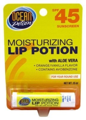 Ocean Potion Lip Moisturizing Potion Spf45 Orange/Vanilla Flavor 0.15 Ounce (4.4ml) (6 Pack) - Ocean Potion Moisturizing Lip Potion Spf 45