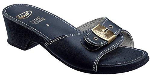 Scholl–aspecto de piel sandalias alta–azul marino