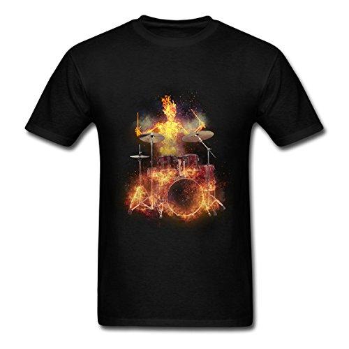 [HUENS Flaming Skeleton Drummer Mens Cotton Graphic T-Shirt Black Size M] (Flaming Skeleton)