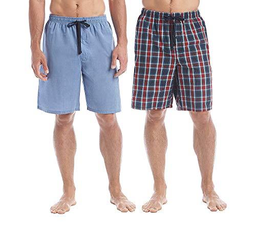 (Hanes Men's 2-Pack Plaid Sleep Shorts Blue/Red Plaid Medium)