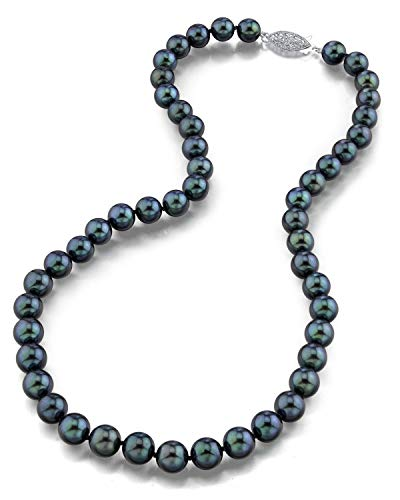 THE PEARL SOURCE 14K Gold AAA Quality Round Genuine Black Japanese Akoya Saltwater Cultured Pearl Necklace in 18 Princess Length for Women