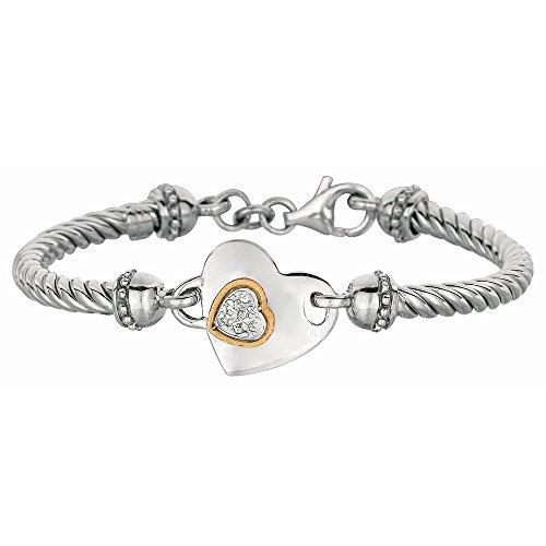 Argent Sterling Fancy Or 18 carats Motif Bracelet JewelryWeb 18,4 cm