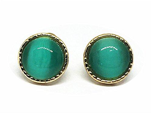 IGOOS' 925 Sterling Silver Cat Eye Stone Stud Earrings Retro Earrings Hypoallergenic Earrings (emerald)