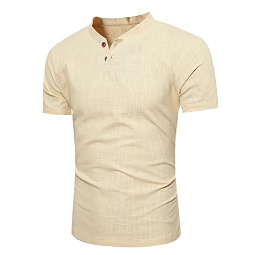 iOPQO T-Shirts for Men, Sweater Casual Short Sleeve Baton Linen Solid Blouse