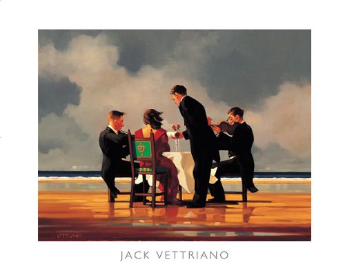 (Elegy for a Dead Admiral Jack Vettriano Love Print, Overall Size: 19.5x15.75, Image Size: 15.75x12.25)