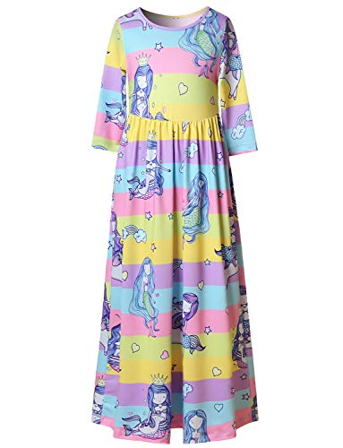 Girls Mermaid Dresses 7-16 Ankle Length Maxi 3/4 Sleeve Dress -