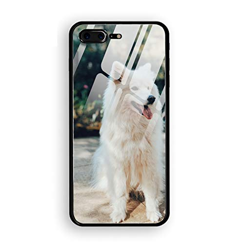 White Shiba Inu Custom Phone 7 Plus/8 Plus Cover Ultra Thin Tempered Glass Compatible for iPhone 7 Plus/8 Plus Case 5.5