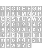 Explopur 62pcs 5 İnç Harf ve Sayı Şablonları Yeniden Kullanılabilir Yıkanabilir Alfabe Şablonları Ahşap Kumaş Duvar Kapı Dekoru Ev Tabelası Üzerine Boyama için Çevre Dostu PET Sanat Zanaat Şablonları