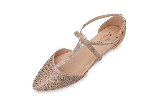 Ashley A(LAUREL10 Womens Pointed Toe Ankle Wrap T-Strap D'Orsay Flats,CHAMP6.5 ()