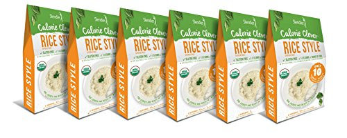 Slendier Zero Carb, Low Calorie, Gluten Free, Certified Organic, Vegan, Shirataki Rice Style (7oz) (Pack of 6)