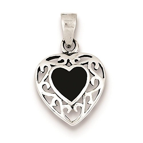 925 Sterling Silver Polished Antiqued Black Onyx Heart Charm Pendant