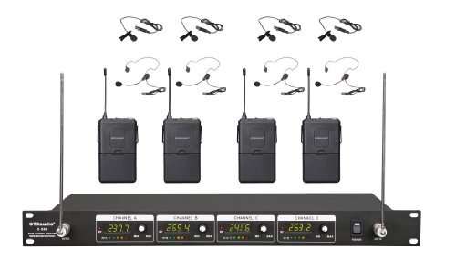 Vhf Mic Lavalier (GTD Audio G-380L VHF Wireless Microphone System with 4 Headset, Lavalier (Lapel) mics)