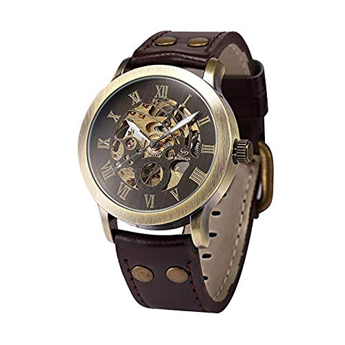 Full time 24 Mechanical Vintage Bronze Case Automatic Mechanical Skeleton Brown Leather Band Men's Sport Watch (SH3)