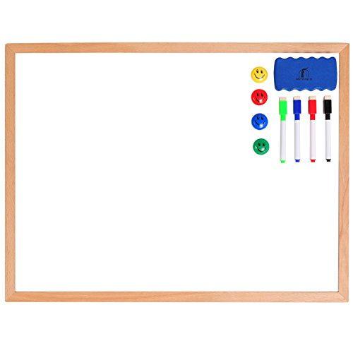 Whiteboard Set - Wooden Frame Dry Erase Board 24 x 18 + 1 Magnetic Dry Eraser, 4 Colorful Marker Pens and 4 Magnets - Small White Hanging Message Scoreboard for Home, Office, School and Desk (Dry Squares Erase)