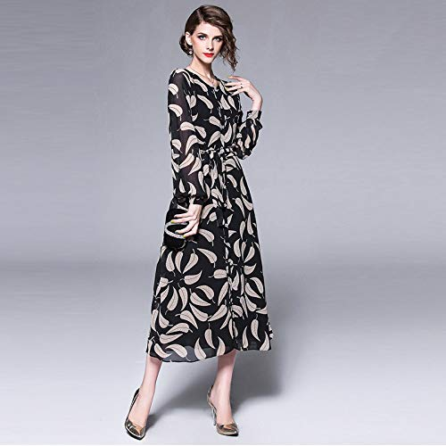 Mujer Cxlyq Vestidos Rebeca Exterior Sección Black Vestido De Estampado Flojo Larga Para Gasa Z4CZqRnF