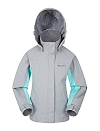 Mountain Warehouse Shelly II Kids Jacket - Waterproof Rain Jacket Light Grey 11-12 years