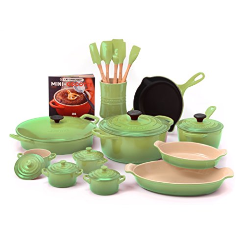 Le Creuset Palm Enameled Cast Iron and Stoneware 20 Piece Cookware Set with Fait Tout Bistro Pan