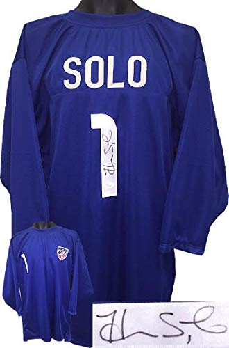 - Autographed Hope Solo Jersey - Blue Prostyle 3 4 Sleeves w USA Patch #1 XL Olympics USA)- Witnessed Hologram - JSA Certified