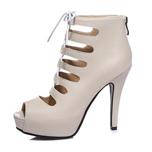YE Damen Offene High Heels Schnür Sandalen Sommer Ankle Boots Cut Out Pumps  Plateau 8cm Absatz ... 1674fa4e45