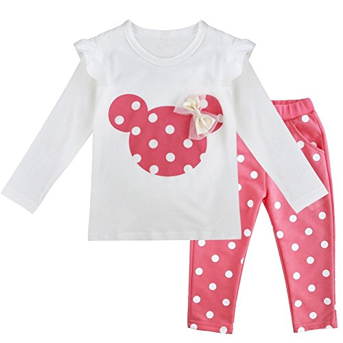 YiZYiF Baby Girls' Long Sleeve T-Shirt Top with Pants 2 Pieces Dress Up Outfits Pink 18-24 Months