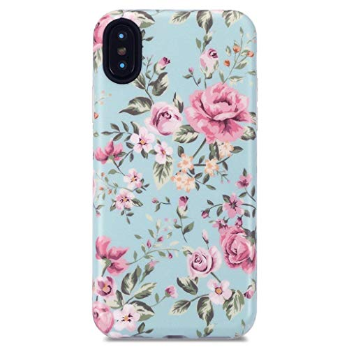 GOLINK Case for iPhone X/iPhone Xs, Matte Floral Series Slim-Fit Ultra-Thin Anti-Scratch Shock Proof Dust Proof Anti-Finger Print TPU Gel Case for iPhone X/iPhone Xs - Elegant Green