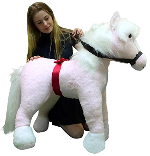 Discount American Made Giant Stuffed Pink Horse Pony 3 Feet Tall and 3 Feet Long Made in the USA hot sale