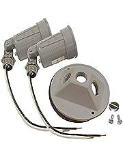 Raco 5625-5 Four-Inch Round 75-100-Watt Dual Lampholders, 2 Pack (Gray)