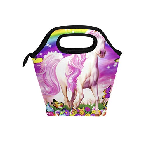 Lunch Tote Bag Horse Dreams Insulated Neoprene Waterproof 11.5 x 11.5 x5 inch Lunch Box Picnic Bag School Cooler Bag for Men Women Ladies Girls Children Kids Student