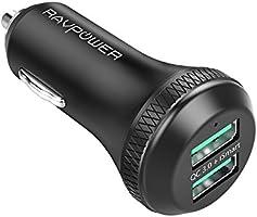 RAVPower Caricabatterie Auto Quick Charge 3.0 36W con 2 Porte - Include un Cavo Micro USB