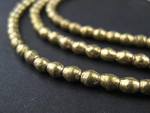 Brass Bicone - Brass Bicone Beads - Full Strand of Ethiopian Metal Beads - The Bead Chest (4mm, Brass)
