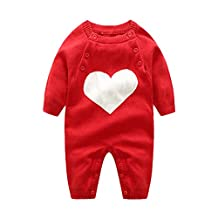 Genda 2Archer Baby Boys Girls Knit Love Heart Outfit Long Sleeve Romper(0-2Y)