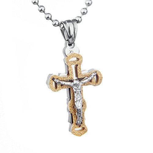Epinki Jewelry Stainless Steel Men Necklace Gold Cubic Zirconia Jesus Gross Silver Pendant - Silver Sunglasses Dagger