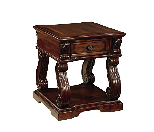 Ashley Furniture Signature Design - Alymere End Table - Accent Side Table - Vintage Style - Square - Rustic Brown - Top Carved End Table
