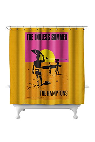 Hampton Poster Bed - The Hamptons, New York - The Endless Summer - Original Movie Poster (71x74 Polyester Shower Curtain)