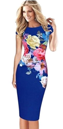 Glasshe Women's Floral Printed Ruched Bodycon Cocktail Evening Party Midi Dress (4XL, Blue) - Sexy Floral Dresses