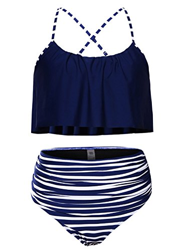 (Women Vintage Swimsuits Halter Straps High Waisted Bikini Set Two Piece Bathing Suits Beach Tummy Control Swimwear Plus Size Navy Blue XL 14 16)