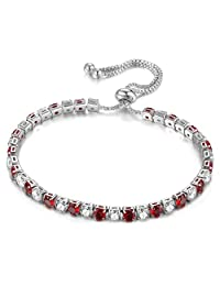 KIVN Fashion Jewelry CZ Cubic Zirconia 4.0mm Adjustable Bolo Tennis Wedding Bridal Bracelets for Women