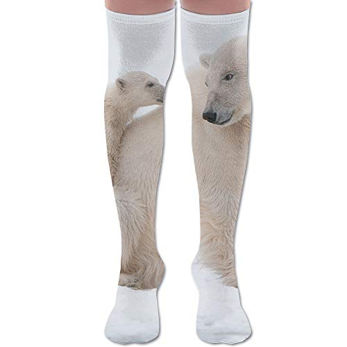 (Polar Bear with Cub Polyester Cotton Over Knee Leg High Socks Fancy Unisex Thigh Stockings Cosplay Boot Long Tube Socks for Sports Gym Yoga Hiking Cycling Running Football)