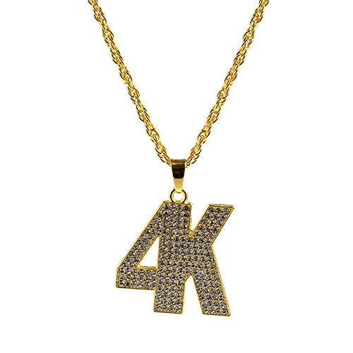 Hip Hop Gold Plated Rhinestone Large 4K Pendant Unisex Long Chain Necklace