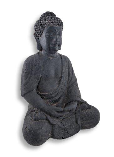 Stone Outdoor Statues Dark Grey Fiber Stone Meditating Buddha Indoor/Outdoor Statue 12 In. 8.5 X 12 X 7 Inches Gray (Statues Buddha Indoor)