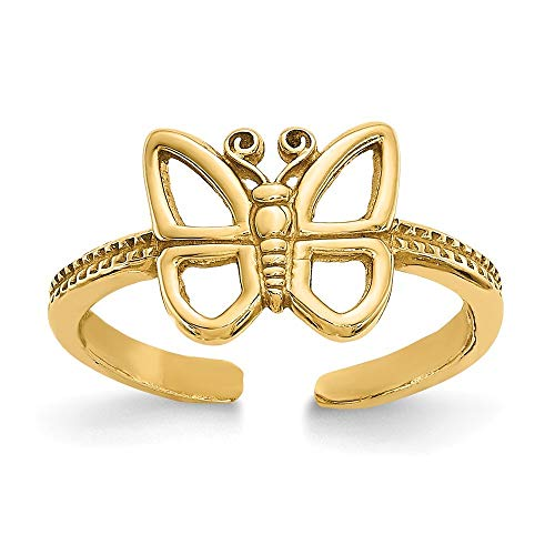 14K Yellow Gold Butterfly Toe Ring ~ from Roy Rose Jewelry