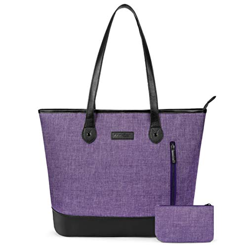 UtoteBag Women 15.6 Inch Laptop Tote Bag Notebook Shoulder Bag Lightweight Multi-Pocket Nylon Business Work Office Briefcase for Computer/MacBook/Ultrabook,Purple