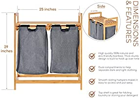 Cesta de bambú para ropa sucia con compartimentos duales, cesta de ...