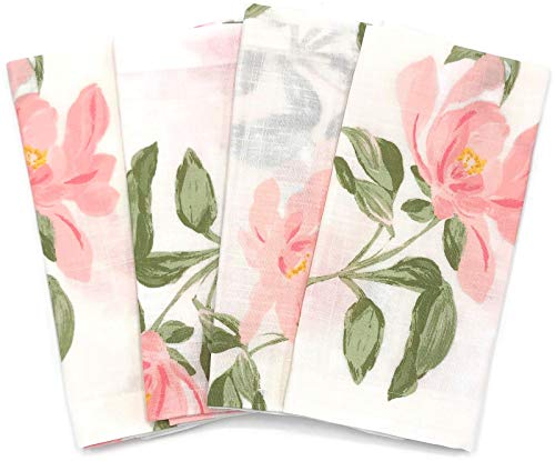 Kate Spade Floral Napkins Breezy Magnolia Light Pink 100% Cotton 4 Pk. 20