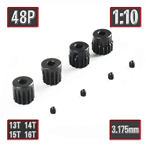 48p 13T 14T 15T 16T Pinion Gear Set with Screw for 3.175mm Shaft Traxxas Redcat Tamiya Losi 1/10 RC Car by MakerDoIt